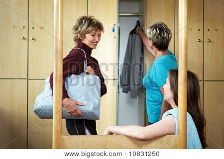 Woman Chatting In Locker Room