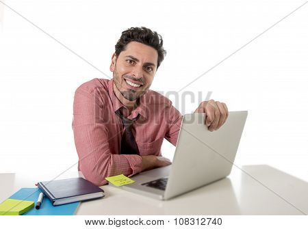 Happy Attractive Businessman In Shirt And Tie At Office Desk Working With Computer Smiling