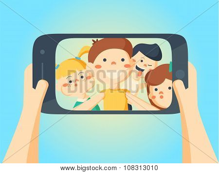 People Taking Selfie. Friends And Girlfriends Kids Making Photo