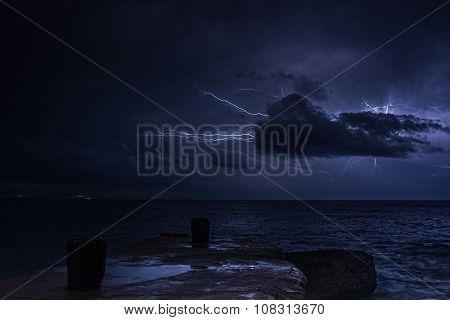 Lightning over sea