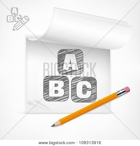 Pencil And Letters In Notepad