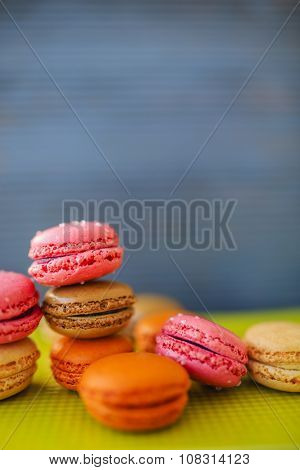 Macaroons - colored almond cookies with different flavours, French delights