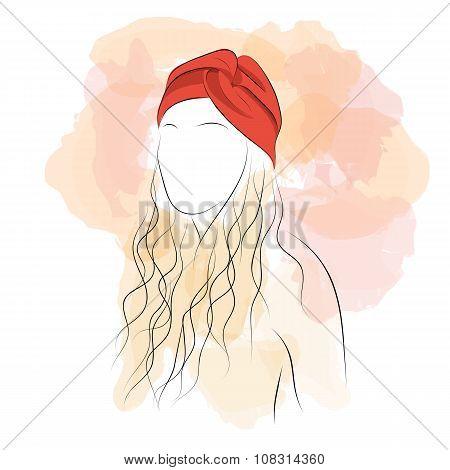Silhouette woman with hair turban
