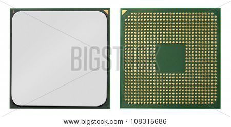 Computer processors CPU isolated on white background