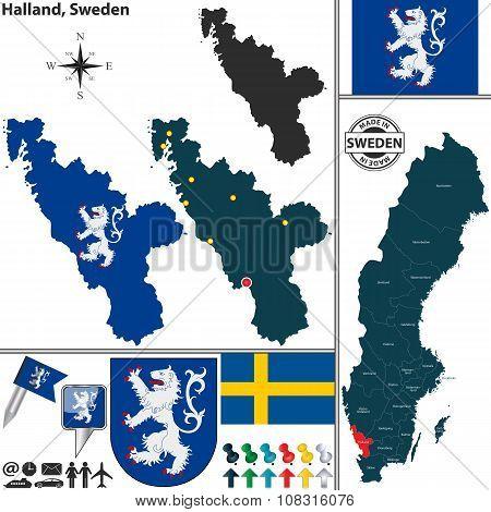 Map Of Halland, Sweden
