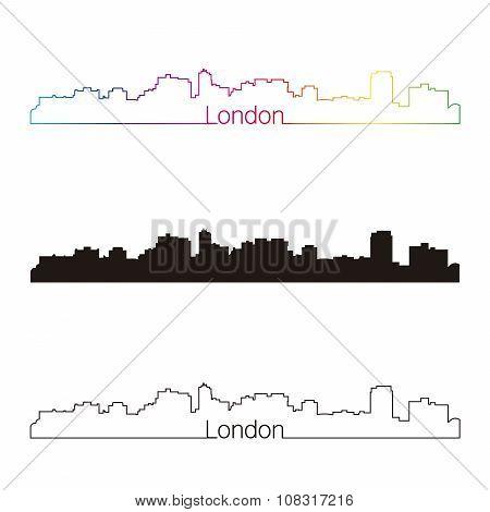 London On Skyline Linear Style With Rainbow