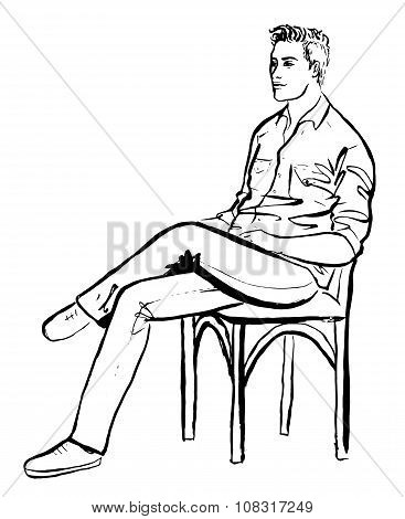 man sitting in cafe