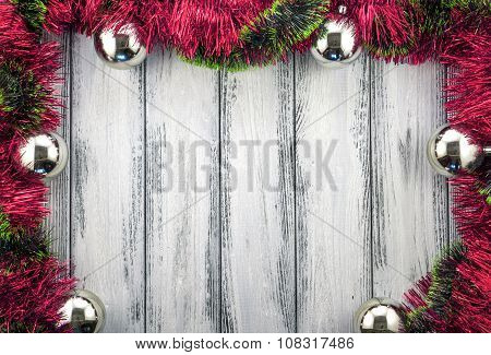New Year Theme Christmas Tree Red And Green Decoration And Silver Balls On White Retro Stylized Wood