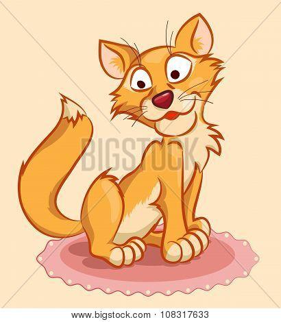 Ginger Cat On The Carpet