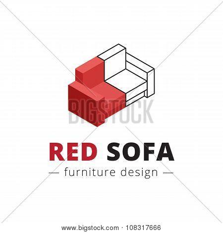 Vector trendy isometric red sofa logo.