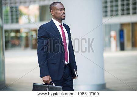 Portrait of a businessman holding his briefcase