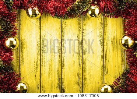 New Year Theme Red And Green Christmas Tree Decoration And Golden Balls On Golden Retro Stylized Woo