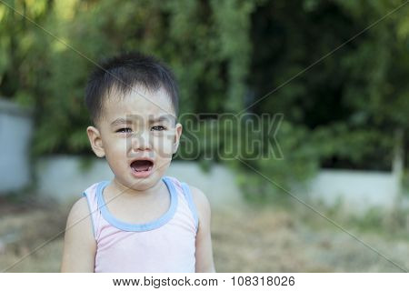 Asian Boy Is Crying