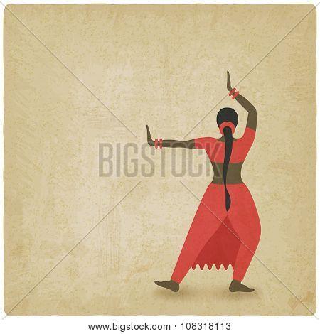 Indian dancer old background. dance club symbol