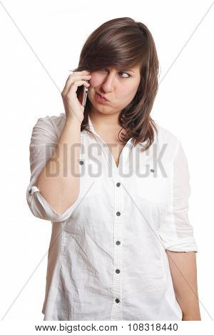 girl pouting on the phone