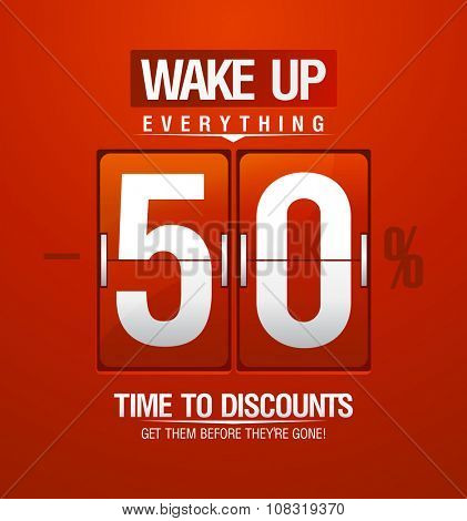 Wake up -50% sale design for coupon in shape of analog flip clock, rasterized version.