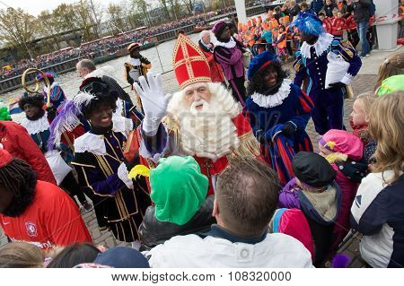 Sinterklaas Greeting The Children