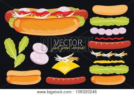 Hot dog on black background.