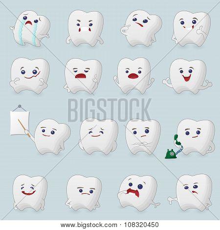 Teeth cartoons set