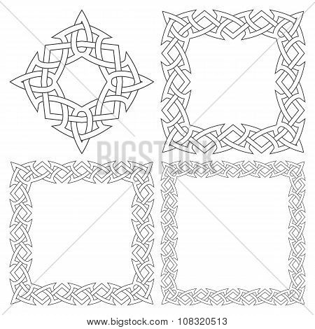 Set of magic knotting frames and celtic cross