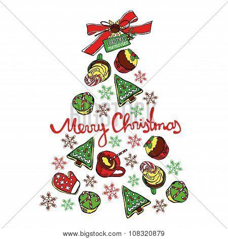 Merry Christmas. Christmas memories. Christmas tree. Christmas sweetness and pastries.