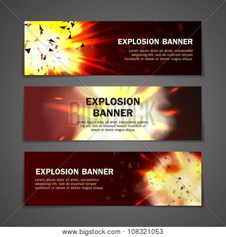 Explosions banners set. Explosions banners vector. Explosions banners illustration. Explosions banners art. Explosions banners web. Explosions banners shape. Explosions banners collection