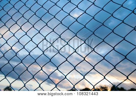 Steel Wire mesh and cloud  in Evening Sky background