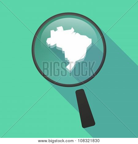 Long Shadow Magnifier Vector Icon With  A Map Fo Brazil
