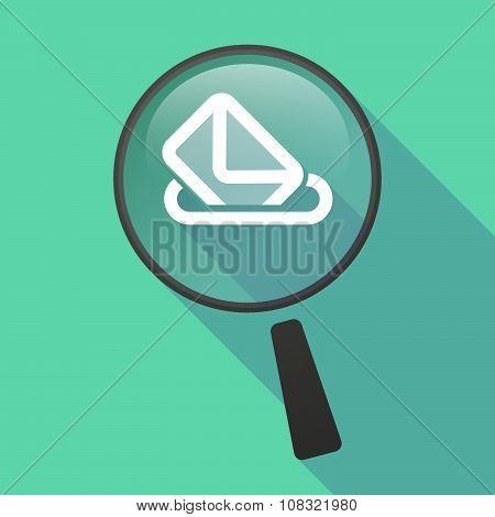 Long Shadow Magnifier Vector Icon With  A Ballot Box