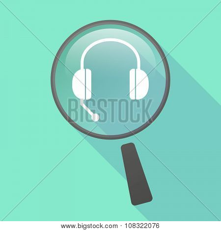 Long Shadow Magnifier Vector Icon With  A Hands Free Phone Device