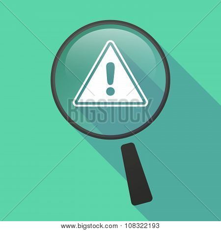 Long Shadow Magnifier Vector Icon With A Warning Signal
