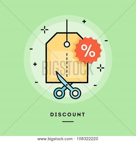 Concept Of Discount, Line Flat Design Banner