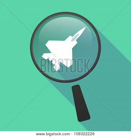 Long Shadow Magnifier Vector Icon With A Combat Plane