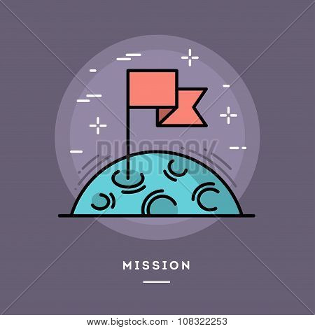 Flag On The Moon As A Metaphor For Business Mission, Line Flat Design Banner