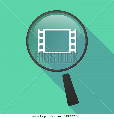 Long Shadow Magnifier Vector Icon With A Wrist Watch