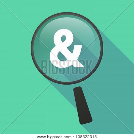 Long Shadow Magnifier Vector Icon With An Ampersand
