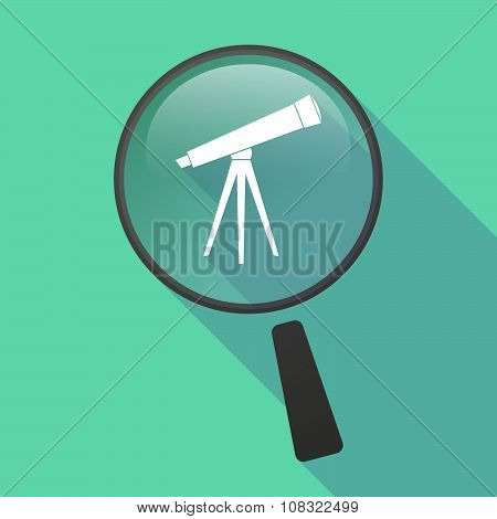 Long Shadow Magnifier Vector Icon With A Telescope