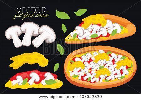 Isolated vector mushrooms pizza. Fast food set.