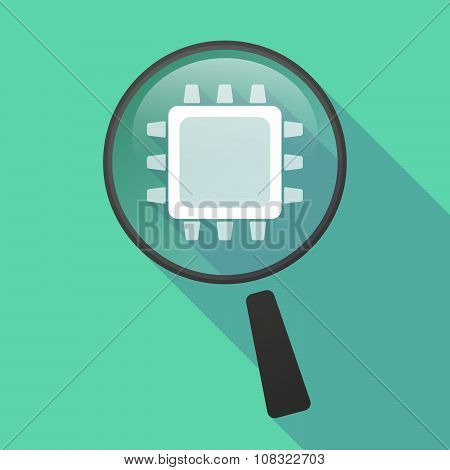 Long Shadow Magnifier Vector Icon With A Cpu