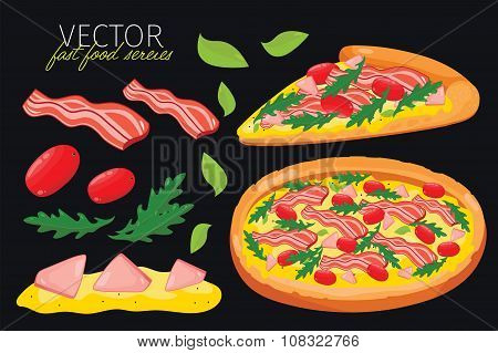 Isolated vector bacon pizza. Fast food set.
