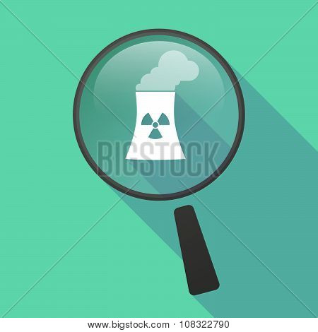 Long Shadow Magnifier Vector Icon With A Nuclear Power Station