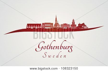 Gothenburg Skyline In Red