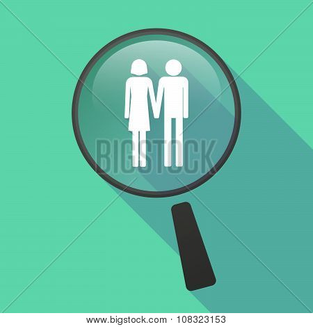 Long Shadow Magnifier Vector Icon With A Heterosexual Couple Pictogram