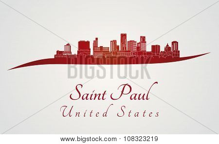 Saint Paul Skyline In Red [convertido]