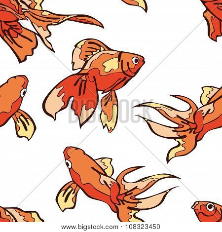 Goldfish. Vector seamless pattern (background).