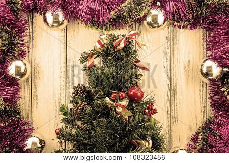 New Year Theme Christmas Tree With Red And Green Decoration And Silver Balls On White Retro Stylized