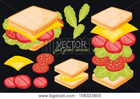 Sandwich on black background.