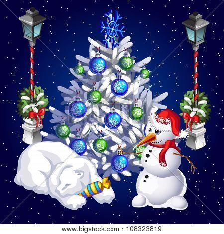 Postcard snowman and sleeping polar bear on a starry sky background