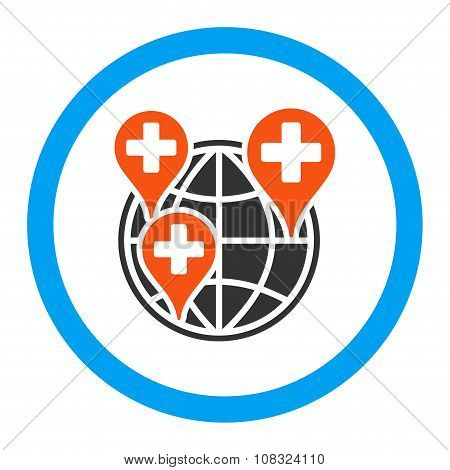 Global Clinic Company Rounded Glyph Icon