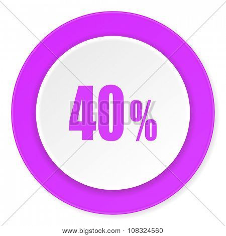 40 percent violet pink circle 3d modern flat design icon on white background